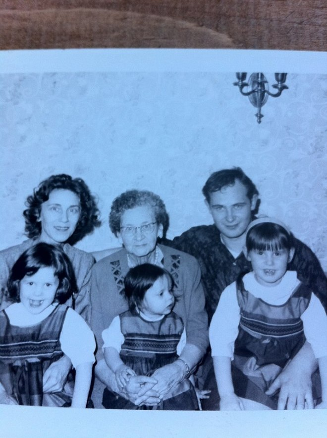 Me and my SISTER'S I'm the little one in the middle. My Grandma and Great Grandma and the Handsome Man was My Dad and Best Friend.