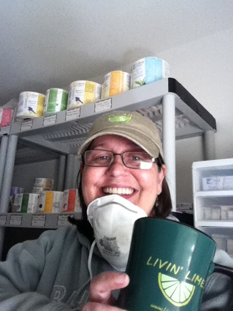 In the Production Room with my Favorite Coffee Mug from Living Lime